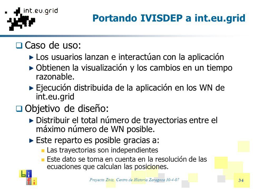 Proyecto Zivis, Centro de Historia Zaragoza 30-4-07 34 Portando IVISDEP a int.eu.grid Caso de uso: Los usuarios lanzan e interactúan con la aplicación