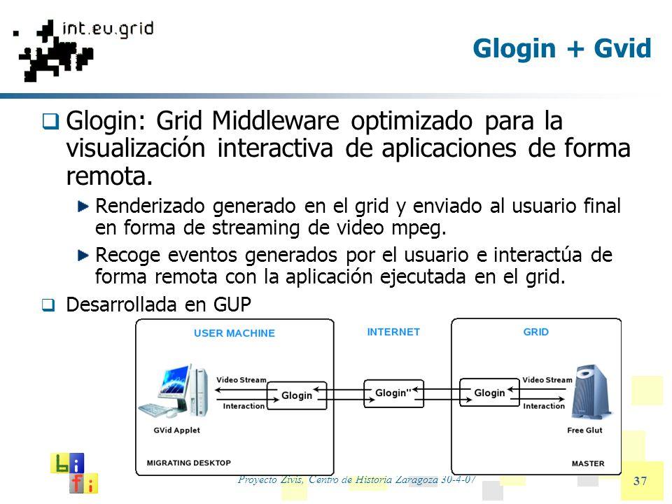 Proyecto Zivis, Centro de Historia Zaragoza 30-4-07 37 Glogin + Gvid Glogin: Grid Middleware optimizado para la visualización interactiva de aplicacio
