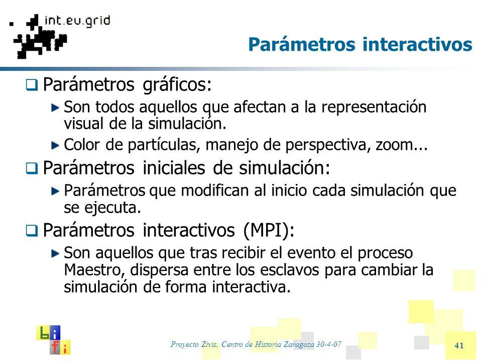 Proyecto Zivis, Centro de Historia Zaragoza 30-4-07 41 Parámetros interactivos Parámetros gráficos: Son todos aquellos que afectan a la representación
