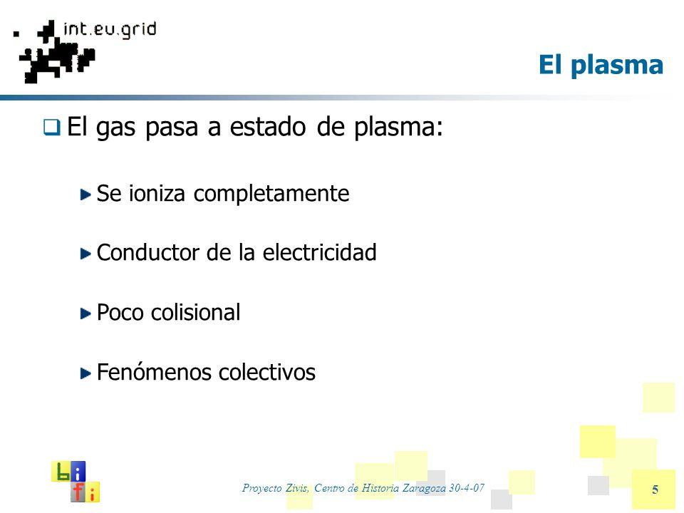 Proyecto Zivis, Centro de Historia Zaragoza 30-4-07 5 El plasma El gas pasa a estado de plasma: Se ioniza completamente Conductor de la electricidad P