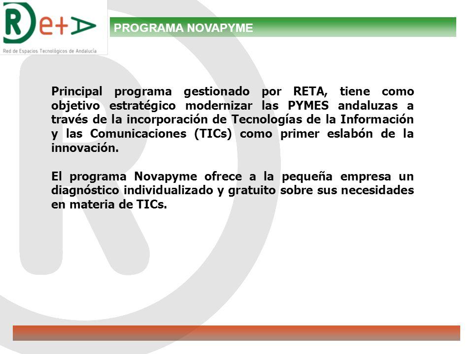 PROGRAMA NOVAPYME Principal programa gestionado por RETA, tiene como objetivo estratégico modernizar las PYMES andaluzas a través de la incorporación de Tecnologías de la Información y las Comunicaciones (TICs) como primer eslabón de la innovación.