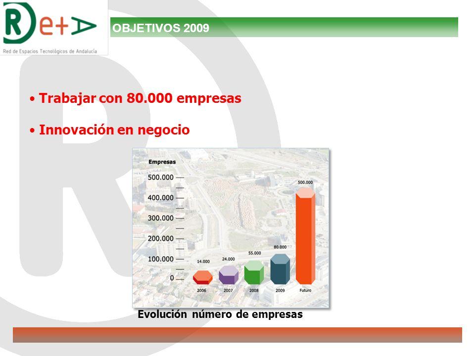 Trabajar con 80.000 empresas Innovación en negocio Evolución número de empresas OBJETIVOS 2009