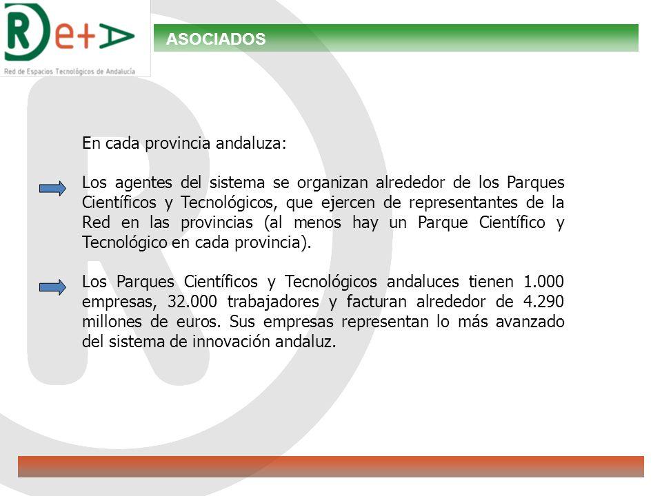 ASOCIADOS En cada provincia andaluza: Los agentes del sistema se organizan alrededor de los Parques Científicos y Tecnológicos, que ejercen de representantes de la Red en las provincias (al menos hay un Parque Científico y Tecnológico en cada provincia).
