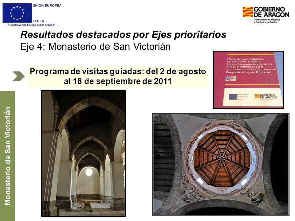 Resultados destacados por Ejes prioritarios Eje 4: Monasterio de San Victorián Programa de visitas guiadas: del 2 de agosto al 18 de septiembre de 201