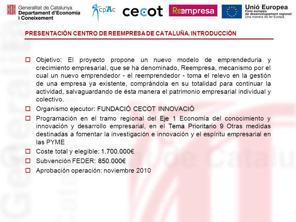 PRESENTACIÓN CENTRO DE REEMPRESA DE CATALUÑA. INTRODUCCIÓN Objetivo: El proyecto propone un nuevo modelo de emprendeduria y crecimiento empresarial, q