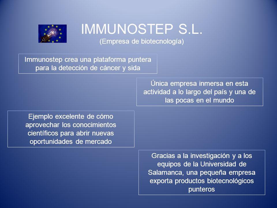 IMMUNOSTEP S.L. (Empresa de biotecnología) Única empresa inmersa en esta actividad a lo largo del país y una de las pocas en el mundo Immunostep crea