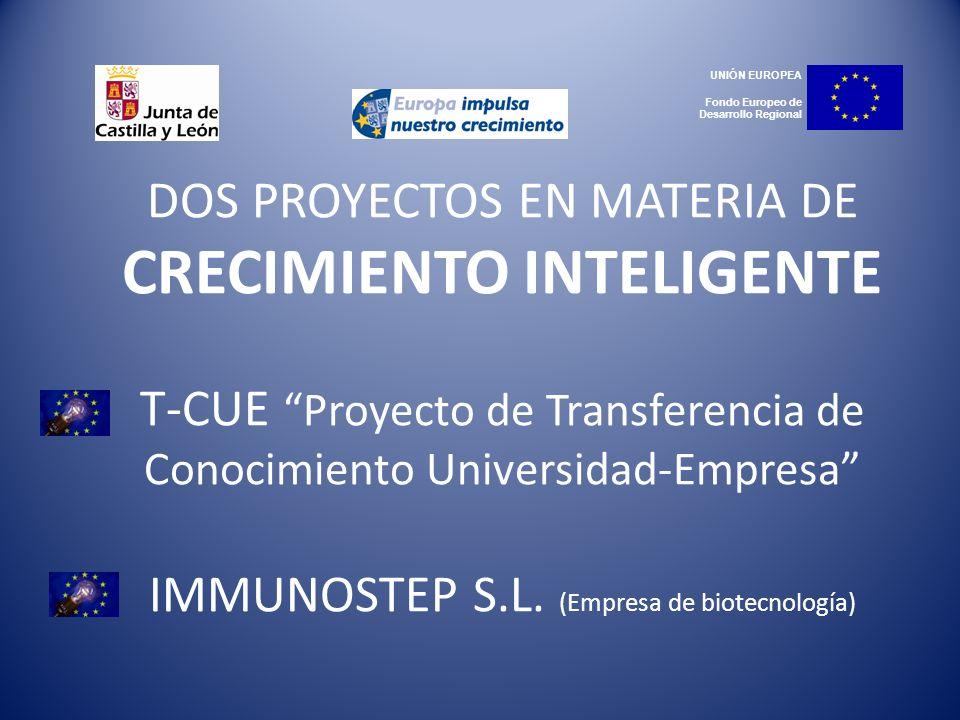 DOS PROYECTOS EN MATERIA DE CRECIMIENTO INTELIGENTE T-CUE Proyecto de Transferencia de Conocimiento Universidad-Empresa IMMUNOSTEP S.L. (Empresa de bi