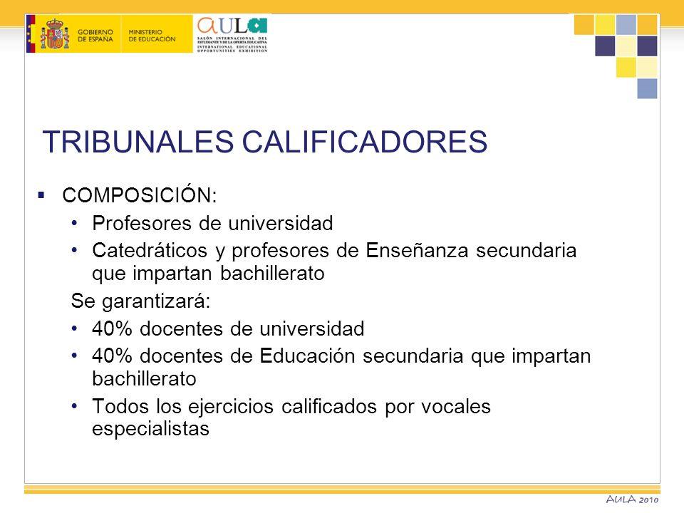 TRIBUNALES CALIFICADORES COMPOSICIÓN: Profesores de universidad Catedráticos y profesores de Enseñanza secundaria que impartan bachillerato Se garanti