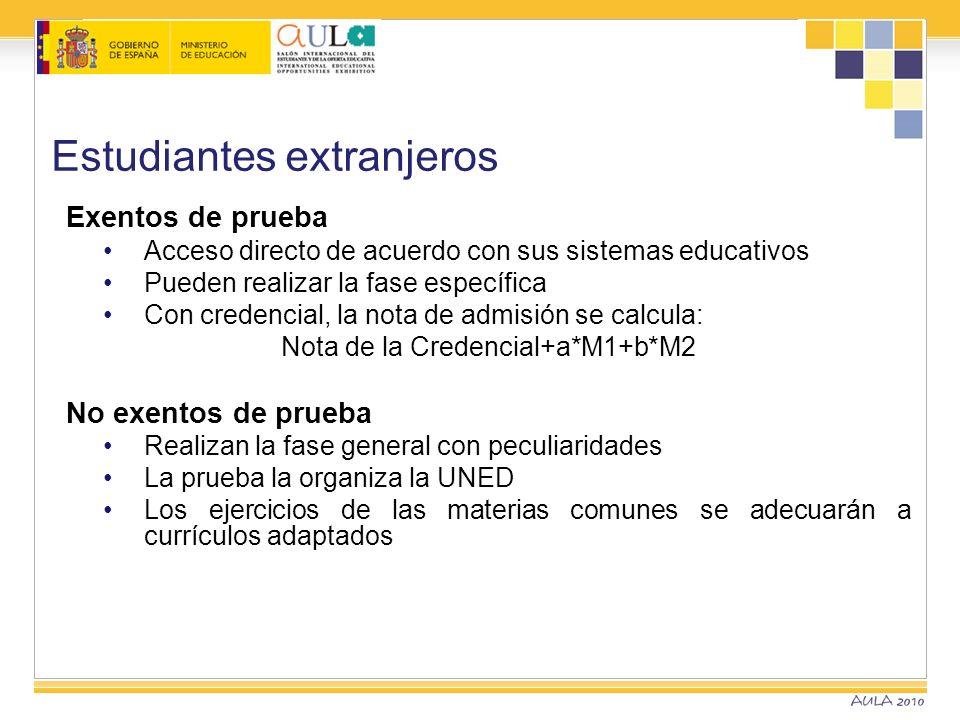 Estudiantes extranjeros Exentos de prueba Acceso directo de acuerdo con sus sistemas educativos Pueden realizar la fase específica Con credencial, la