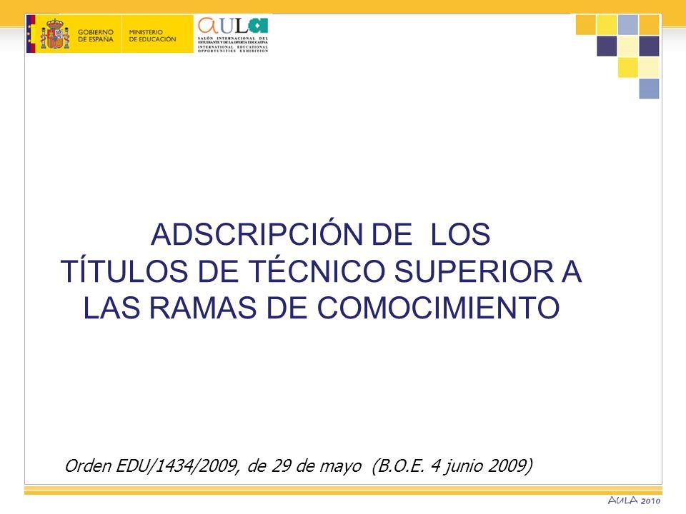 Orden EDU/1434/2009, de 29 de mayo (B.O.E. 4 junio 2009) ADSCRIPCIÓN DE LOS TÍTULOS DE TÉCNICO SUPERIOR A LAS RAMAS DE COMOCIMIENTO