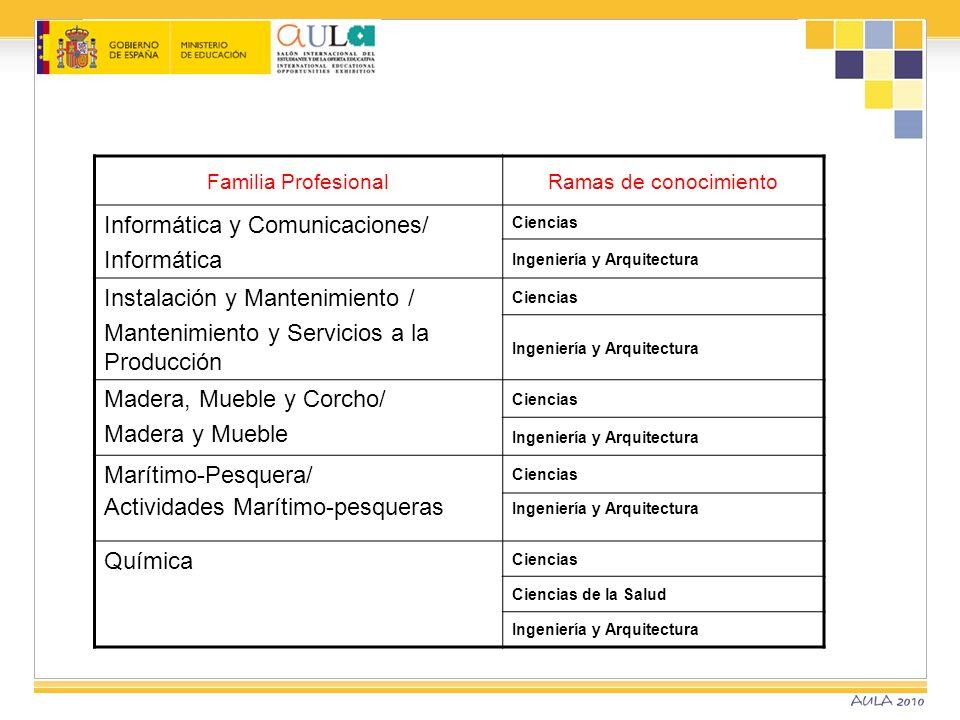Familia ProfesionalRamas de conocimiento Informática y Comunicaciones/ Informática Ciencias Ingeniería y Arquitectura Instalación y Mantenimiento / Ma