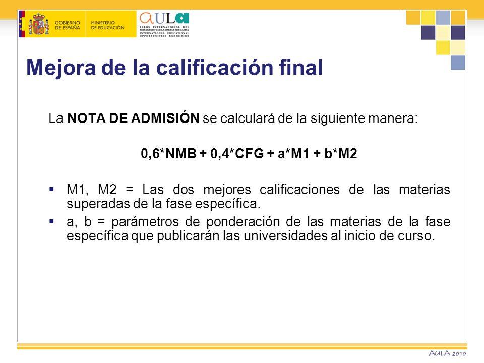 Mejora de la calificación final La NOTA DE ADMISIÓN se calculará de la siguiente manera: 0,6*NMB + 0,4*CFG + a*M1 + b*M2 M1, M2 = Las dos mejores cali