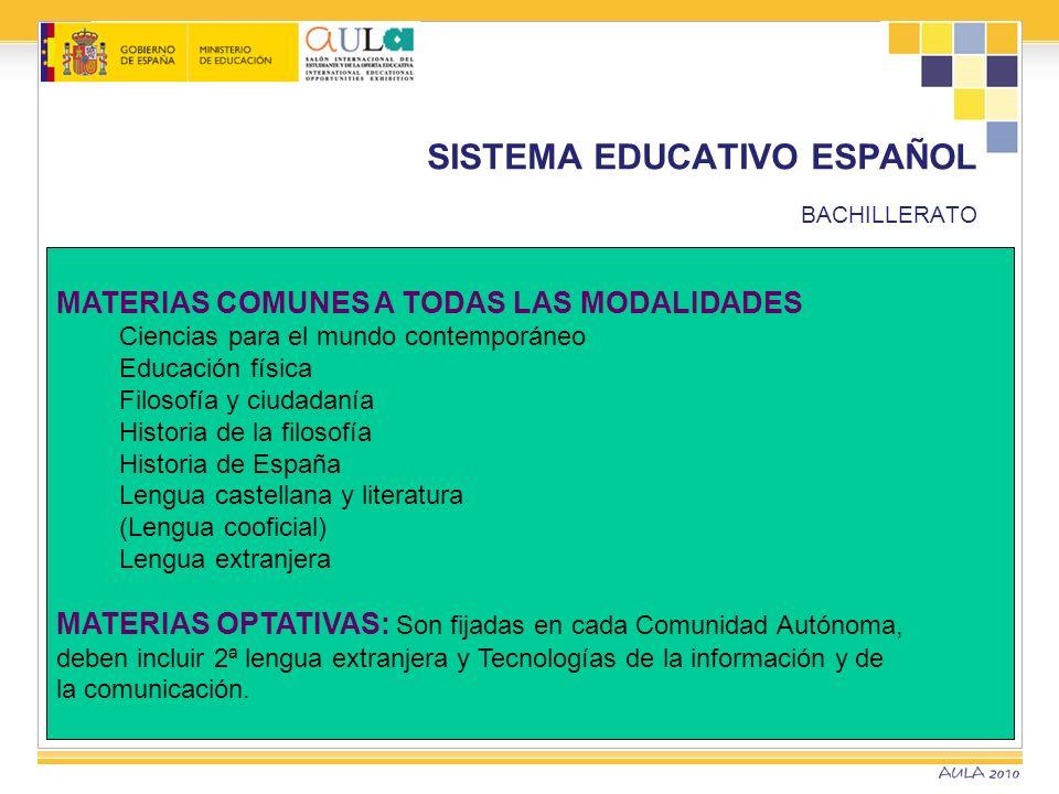 SISTEMA EDUCATIVO ESPAÑOL BACHILLERATO MATERIAS COMUNES A TODAS LAS MODALIDADES Ciencias para el mundo contemporáneo Educación física Filosofía y ciud