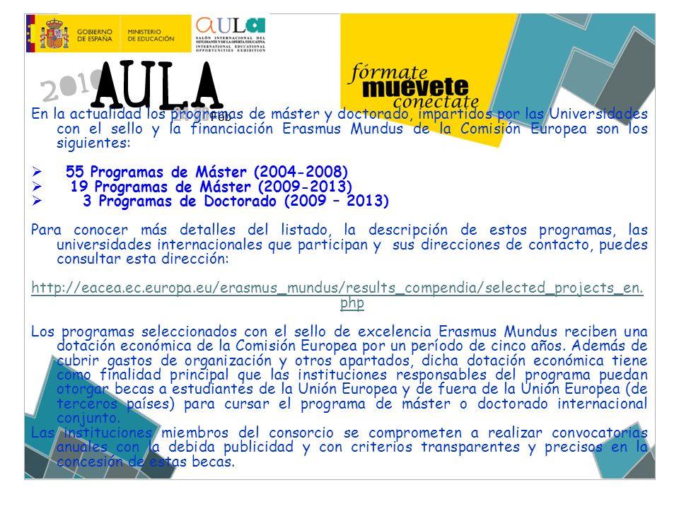 En la actualidad los programas de máster y doctorado, impartidos por las Universidades con el sello y la financiación Erasmus Mundus de la Comisión Eu