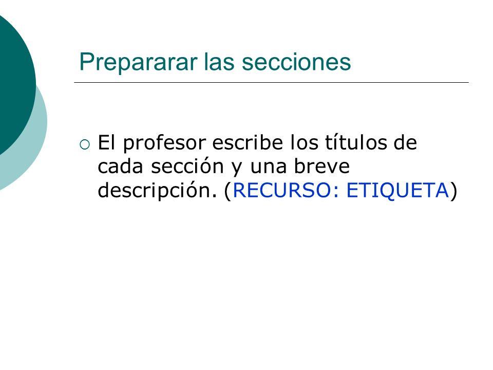 Prepararar las secciones El profesor escribe los títulos de cada sección y una breve descripción. (RECURSO: ETIQUETA)
