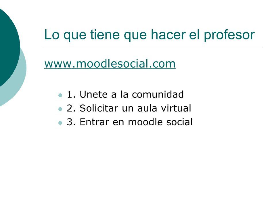 Lo que tiene que hacer el profesor www.moodlesocial.com 1. Unete a la comunidad 2. Solicitar un aula virtual 3. Entrar en moodle social