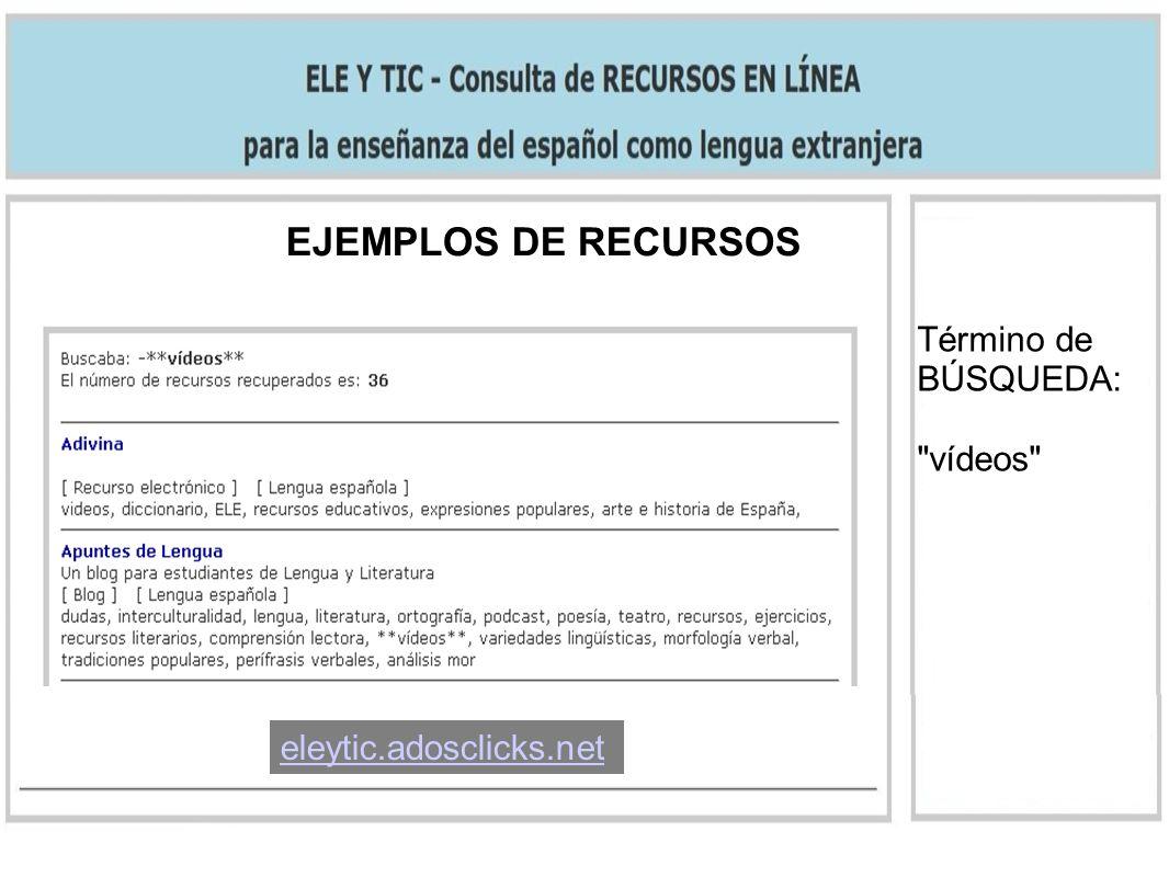 EJEMPLOS DE RECURSOS Término de BÚSQUEDA: vídeos eleytic.adosclicks.net
