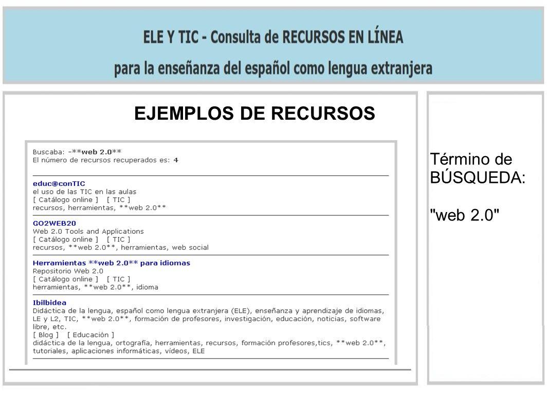 EJEMPLOS DE RECURSOS Término de BÚSQUEDA: