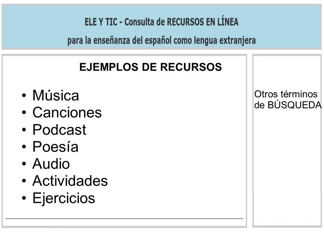 EJEMPLOS DE RECURSOS Otros términos de BÚSQUEDA Música Canciones Podcast Poesía Audio Actividades Ejercicios