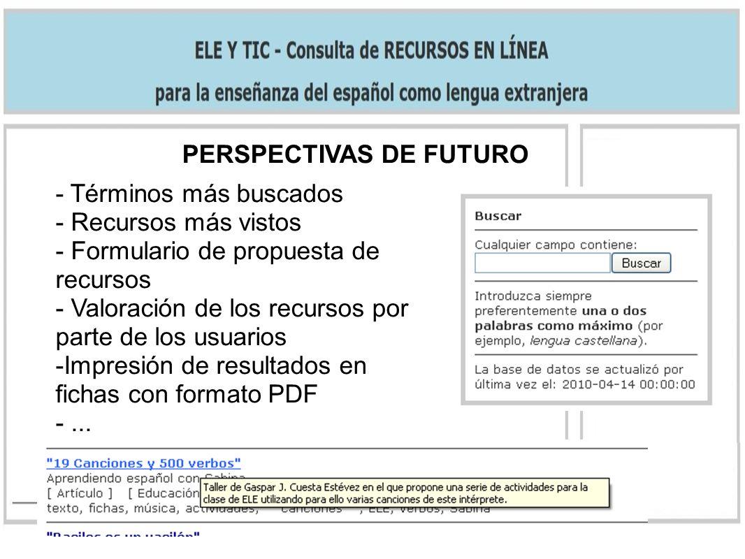 PERSPECTIVAS DE FUTURO - Términos más buscados - Recursos más vistos - Formulario de propuesta de recursos - Valoración de los recursos por parte de los usuarios -Impresión de resultados en fichas con formato PDF -...