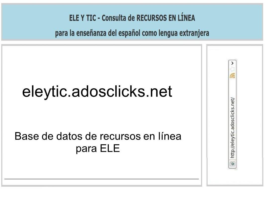 eleytic.adosclicks.net Base de datos de recursos en línea para ELE