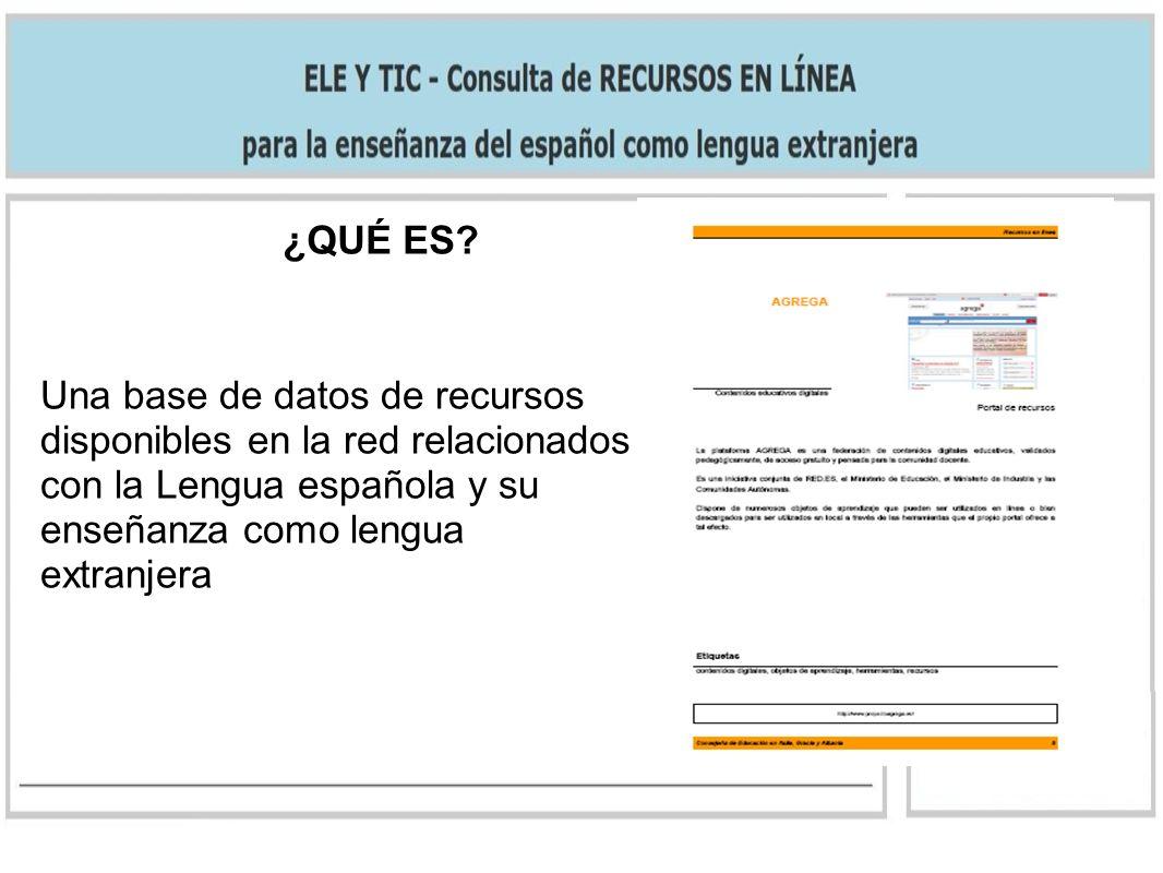 ¿QUÉ ES? Una base de datos de recursos disponibles en la red relacionados con la Lengua española y su enseñanza como lengua extranjera