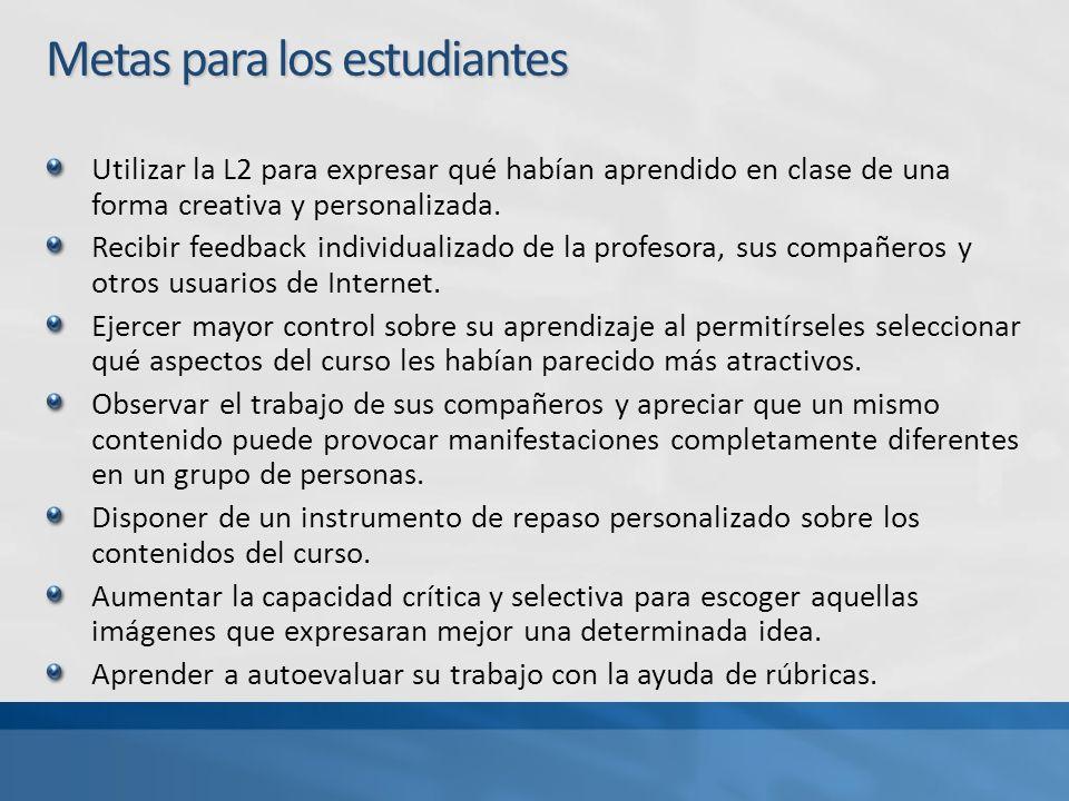 Metas para los estudiantes Utilizar la L2 para expresar qué habían aprendido en clase de una forma creativa y personalizada.