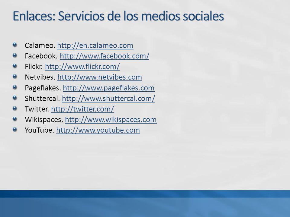 Enlaces: Servicios de los medios sociales Calameo.