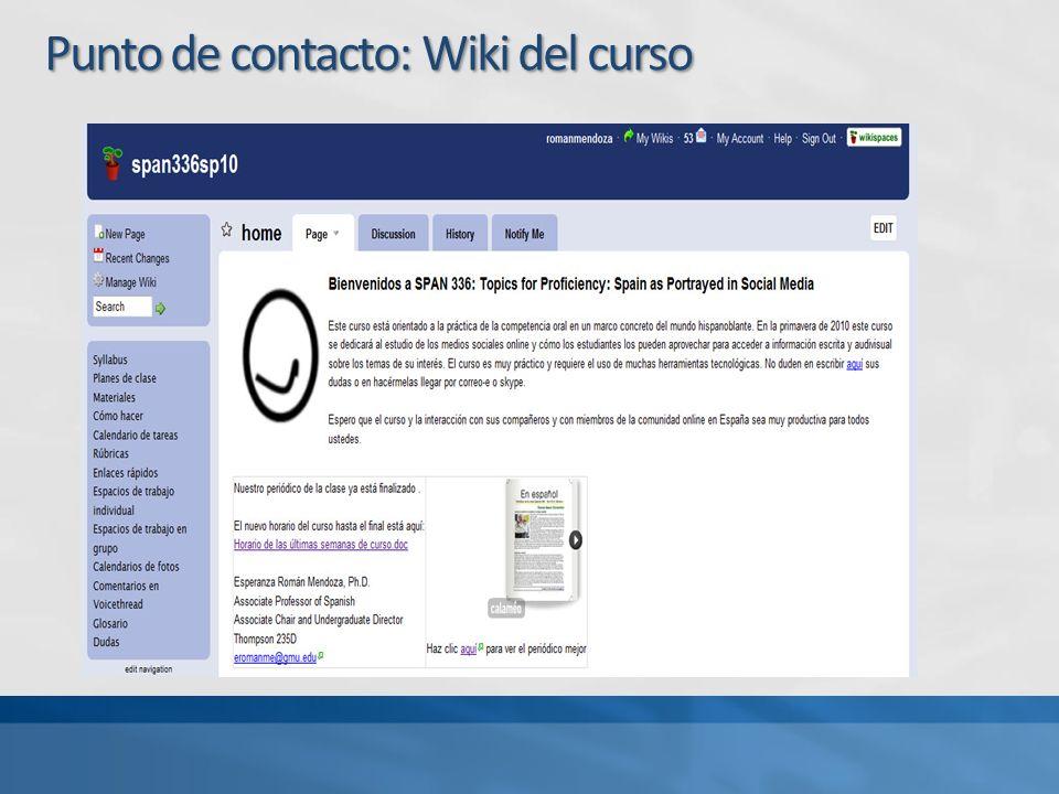 Punto de contacto: Wiki del curso