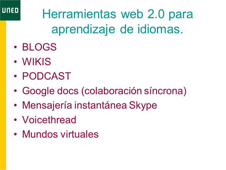 Herramientas web 2.0 para aprendizaje de idiomas. BLOGS WIKIS PODCAST Google docs (colaboración síncrona) Mensajería instantánea Skype Voicethread Mun