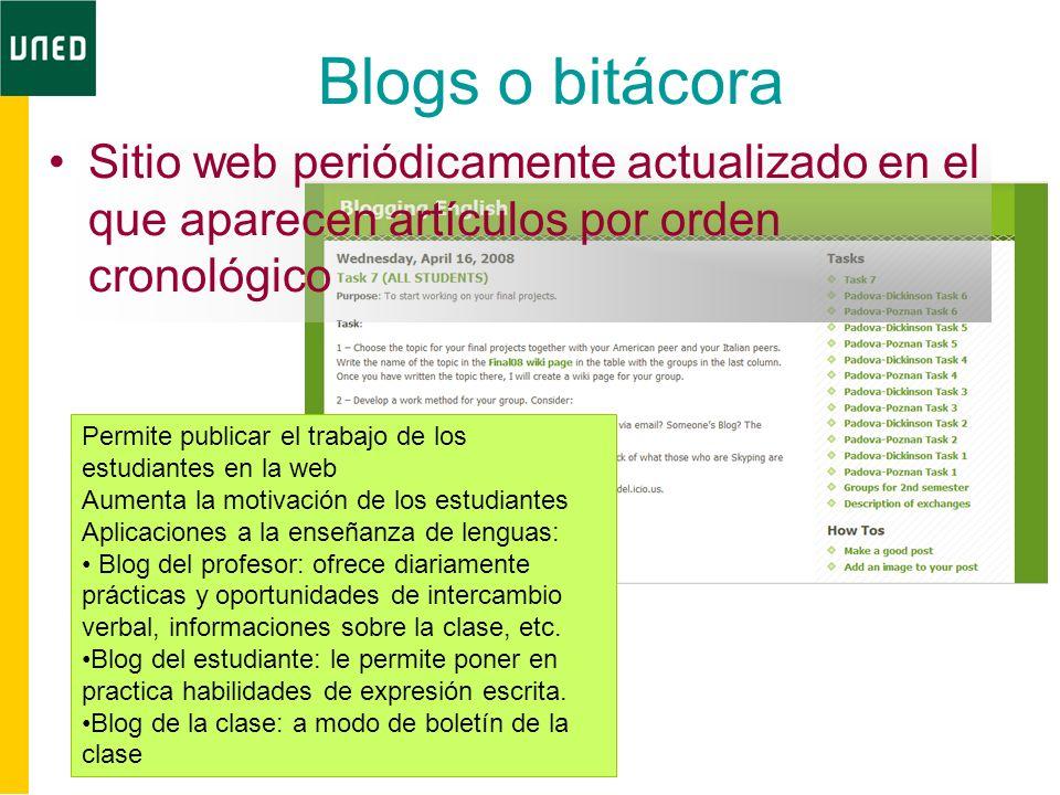 Blogs o bitácora Sitio web periódicamente actualizado en el que aparecen artículos por orden cronológico Permite publicar el trabajo de los estudiante