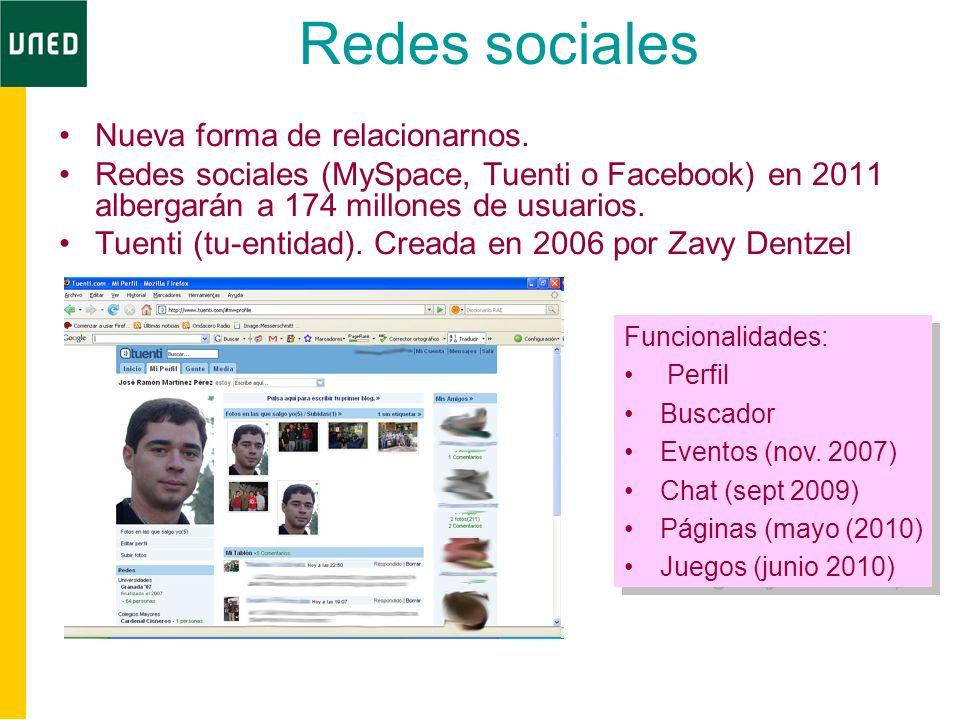 Redes sociales Nueva forma de relacionarnos. Redes sociales (MySpace, Tuenti o Facebook) en 2011 albergarán a 174 millones de usuarios. Tuenti (tu-ent