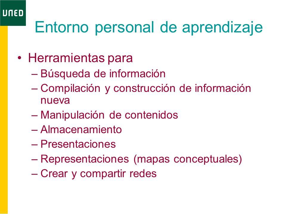 Entorno personal de aprendizaje Herramientas para –Búsqueda de información –Compilación y construcción de información nueva –Manipulación de contenido