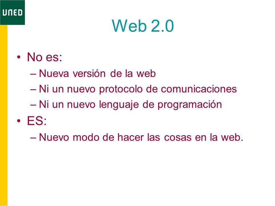 Web 2.0 No es: –Nueva versión de la web –Ni un nuevo protocolo de comunicaciones –Ni un nuevo lenguaje de programación ES: –Nuevo modo de hacer las cosas en la web.