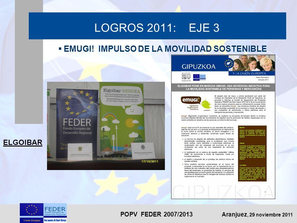 POPV FEDER 2007/2013 Aranjuez, 29 noviembre 2011 LOGROS 2011: EJE 3 EMUGI! IMPULSO DE LA MOVILIDAD SOSTENIBLE ELGOIBAR