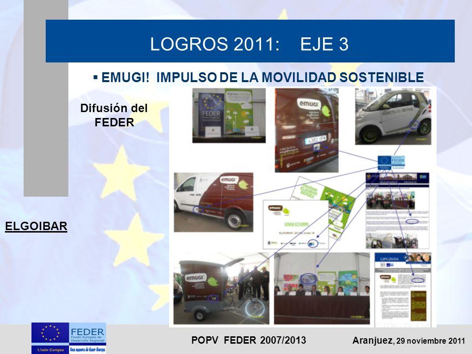 POPV FEDER 2007/2013 Aranjuez, 29 noviembre 2011 LOGROS 2011: EJE 3 EMUGI! IMPULSO DE LA MOVILIDAD SOSTENIBLE Difusión del FEDER ELGOIBAR