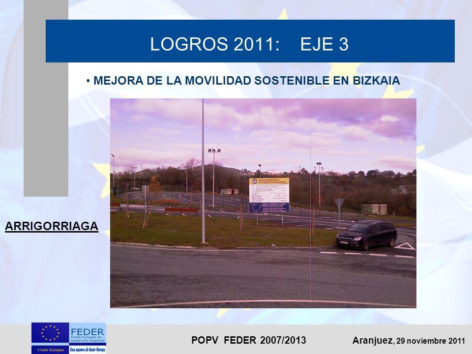 POPV FEDER 2007/2013 Aranjuez, 29 noviembre 2011 LOGROS 2011: EJE 3 MEJORA DE LA MOVILIDAD SOSTENIBLE EN BIZKAIA ARRIGORRIAGA