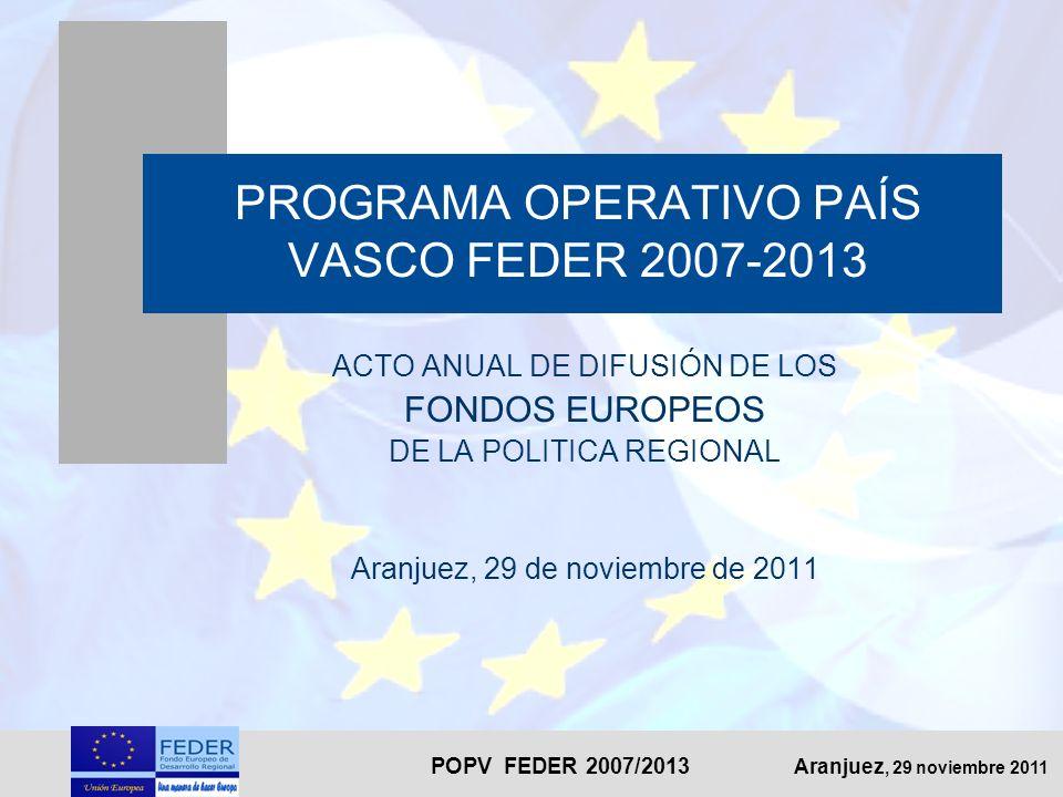 POPV FEDER 2007/2013 Aranjuez, 29 noviembre 2011 PROGRAMA OPERATIVO PAÍS VASCO FEDER 2007-2013 ACTO ANUAL DE DIFUSIÓN DE LOS FONDOS EUROPEOS DE LA POL