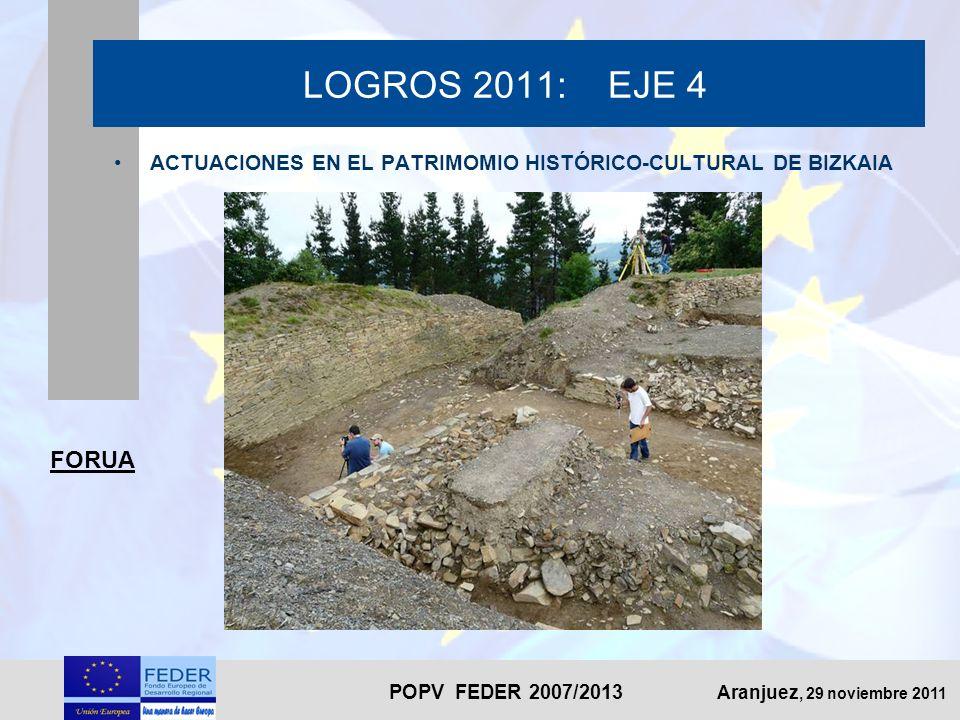 POPV FEDER 2007/2013 Aranjuez, 29 noviembre 2011 LOGROS 2011: EJE 4 ACTUACIONES EN EL PATRIMOMIO HISTÓRICO-CULTURAL DE BIZKAIA FORUA