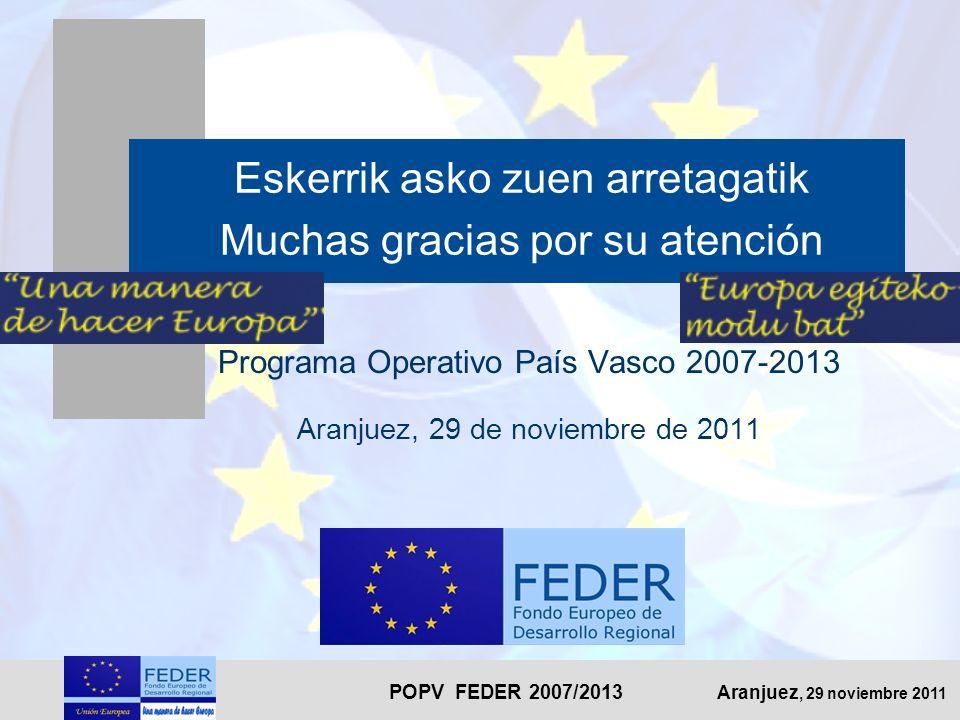 POPV FEDER 2007/2013 Aranjuez, 29 noviembre 2011 Eskerrik asko zuen arretagatik Muchas gracias por su atención Programa Operativo País Vasco 2007-2013 Aranjuez, 29 de noviembre de 2011