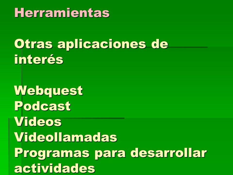 Herramientas Otras aplicaciones de interés Webquest Podcast Videos Videollamadas Programas para desarrollar actividades