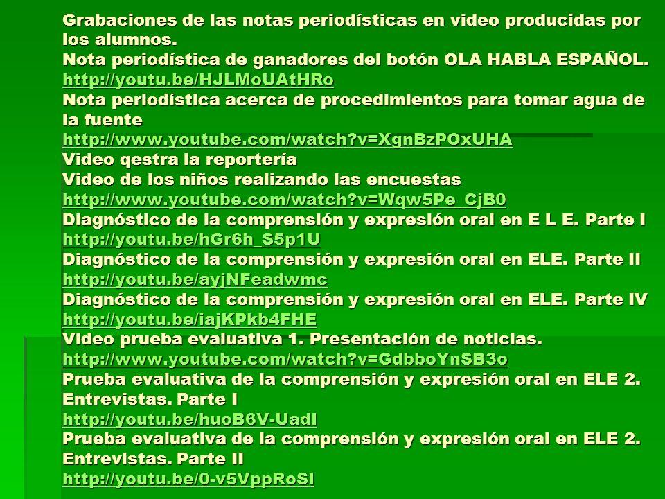 Grabaciones de las notas periodísticas en video producidas por los alumnos. Nota periodística de ganadores del botón OLA HABLA ESPAÑOL. http://youtu.b
