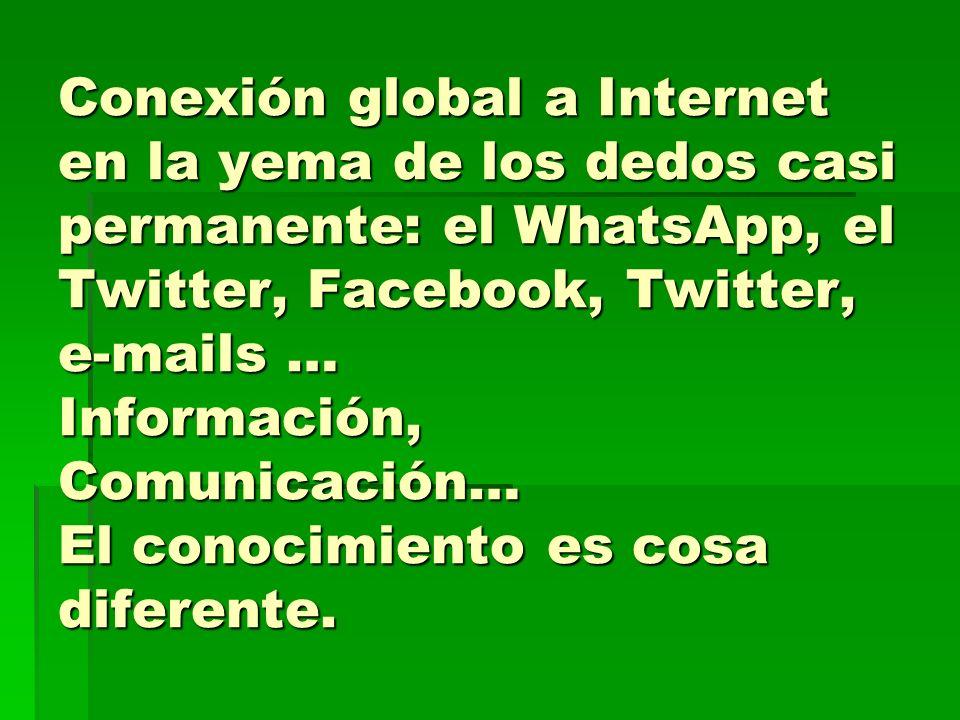 Conexión global a Internet en la yema de los dedos casi permanente: el WhatsApp, el Twitter, Facebook, Twitter, e-mails … Información, Comunicación… E