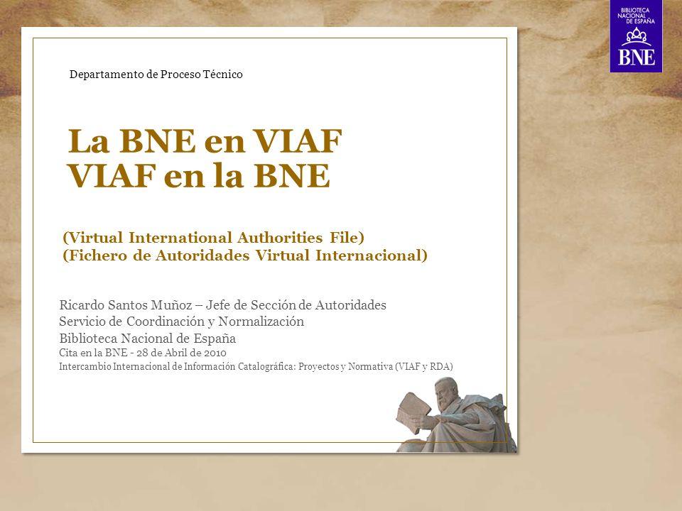 La BNE en VIAF 22 Conclusiones y ventajas del uso de VIAF Ventajas como usuarios de VIAF: Permite, en una sola consulta, interrogar a varias bases de datos a la vez.