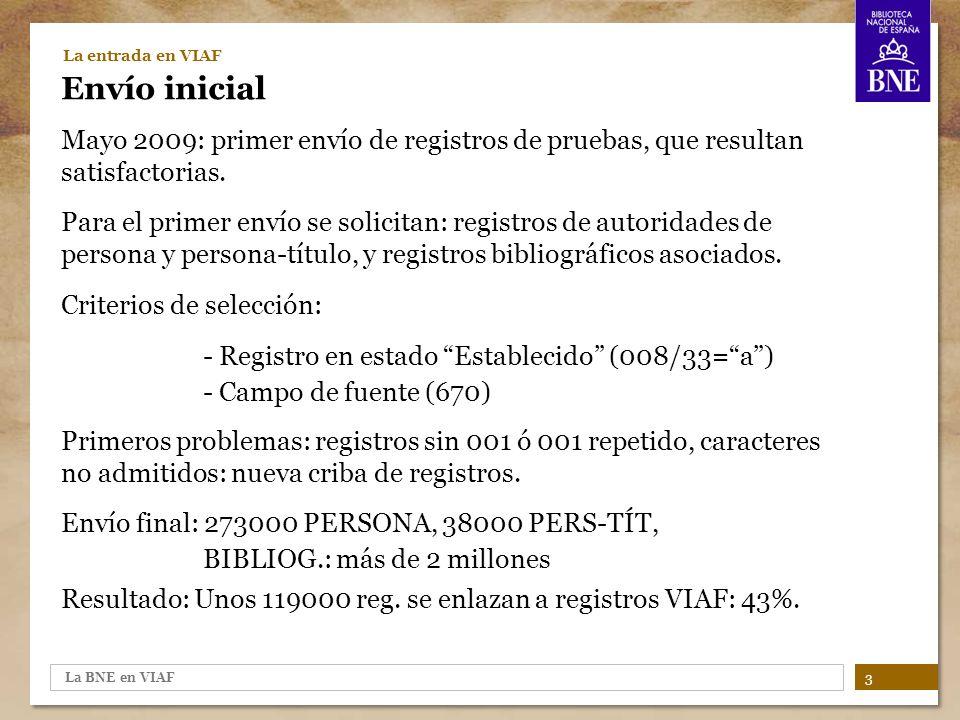 La BNE en VIAF 4 La entrada en VIAF Los registros de la BNE en VIAF Ejemplo de un caso de registro BNE que entra a formar parte de un registro VIAF