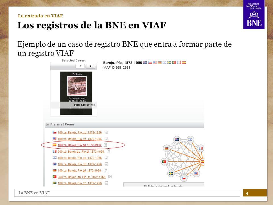 La BNE en VIAF 5 La entrada en VIAF Los registros de la BNE en VIAF Ejemplo de un caso de registro BNE sin link a un registro VIAF, que se convierte en un registro VIAF por sí solo.