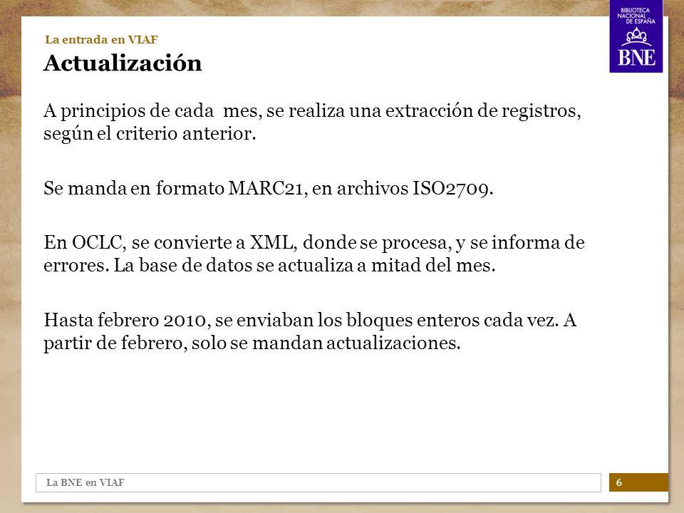 La BNE en VIAF 17 VIAF en la BNE Casos prácticos (I) Una consulta vs.