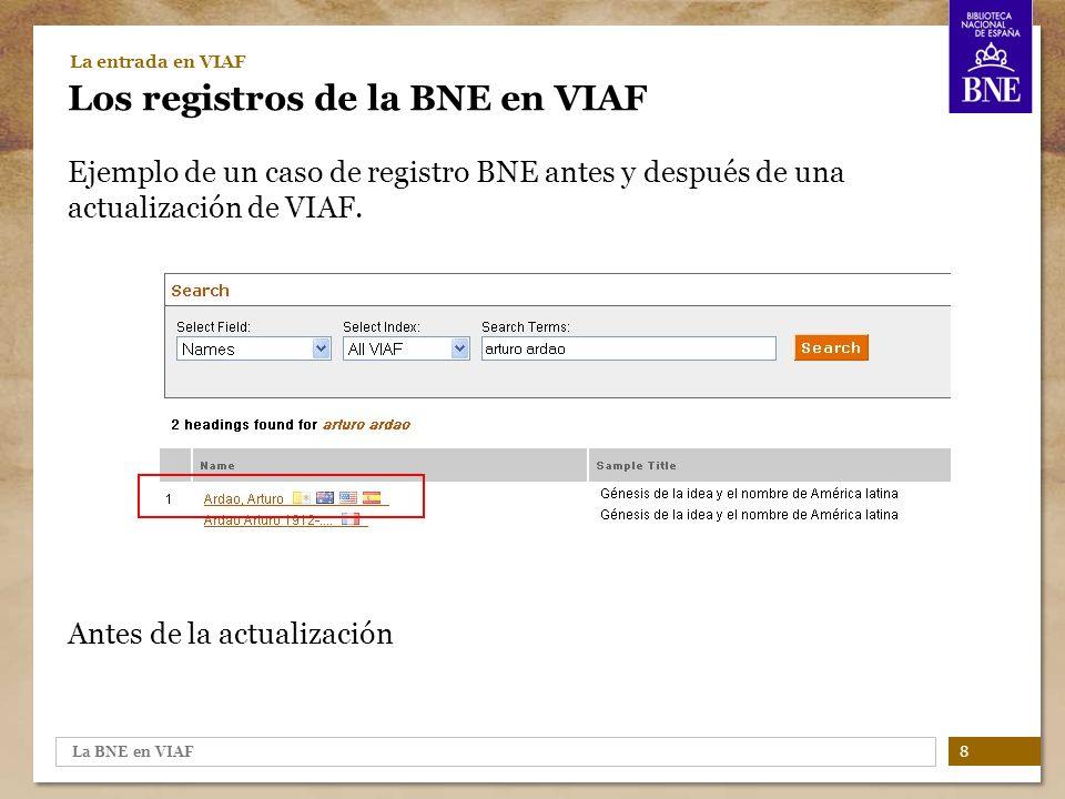 La BNE en VIAF 9 La entrada en VIAF Los registros de la BNE en VIAF Ejemplo de un caso de registro BNE antes y después de una actualización de VIAF.
