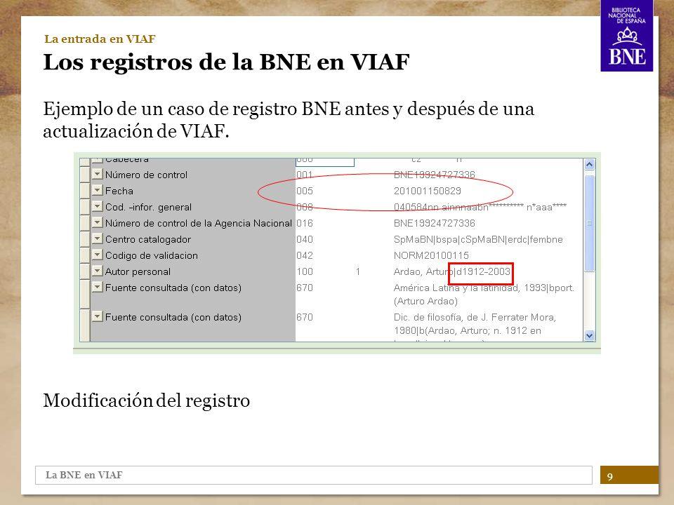 La BNE en VIAF 10 La entrada en VIAF Los registros de la BNE en VIAF Ejemplo de un caso de registro BNE antes y después de una actualización de VIAF.