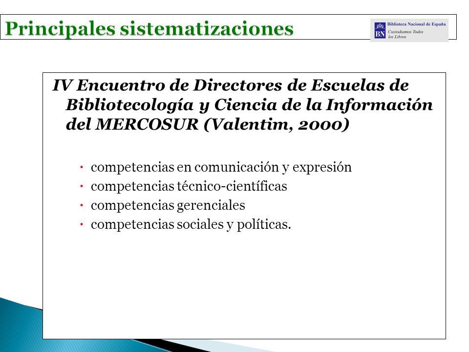 IV Encuentro de Directores de Escuelas de Bibliotecología y Ciencia de la Información del MERCOSUR (Valentim, 2000) competencias en comunicación y expresión competencias técnico-científicas competencias gerenciales competencias sociales y políticas.